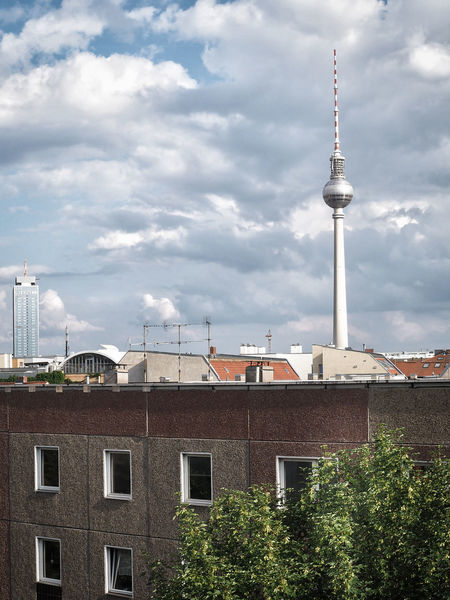 Architecture Building Exterior Built Structure Capital Cities  City Cloud Cloud - Sky Cloudy Communications Tower Culture Day Fernsehturm High Section Low Angle View Modern No People Outdoors Overcast Sky Spire  Tall - High Tourism Tower Travel Destinations Weather