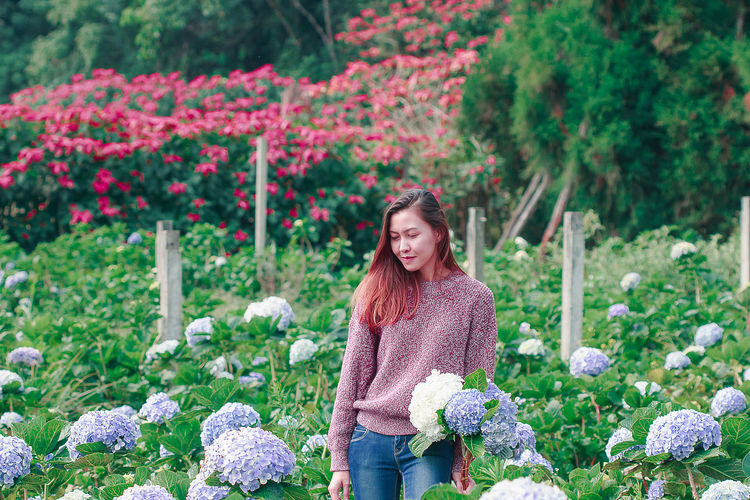 Mid adult woman standing amidst flowering plants at farm
