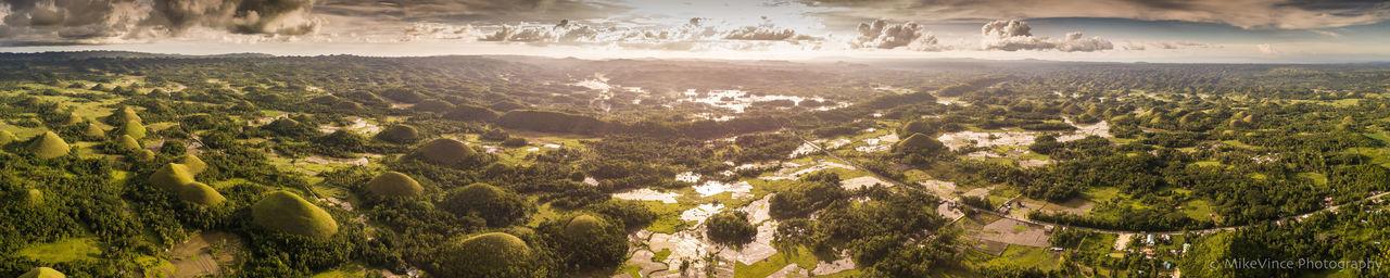 Chocolate Hills, Bohol, Philippines Aerial Shot Bohol Philippines Chocolate Hills Bohol Philippines Drone  Skyline Forest Horizon Over Land Scenics