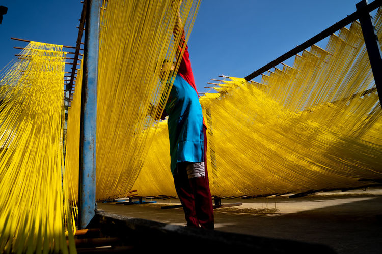 Rear view of man making yellow noodles