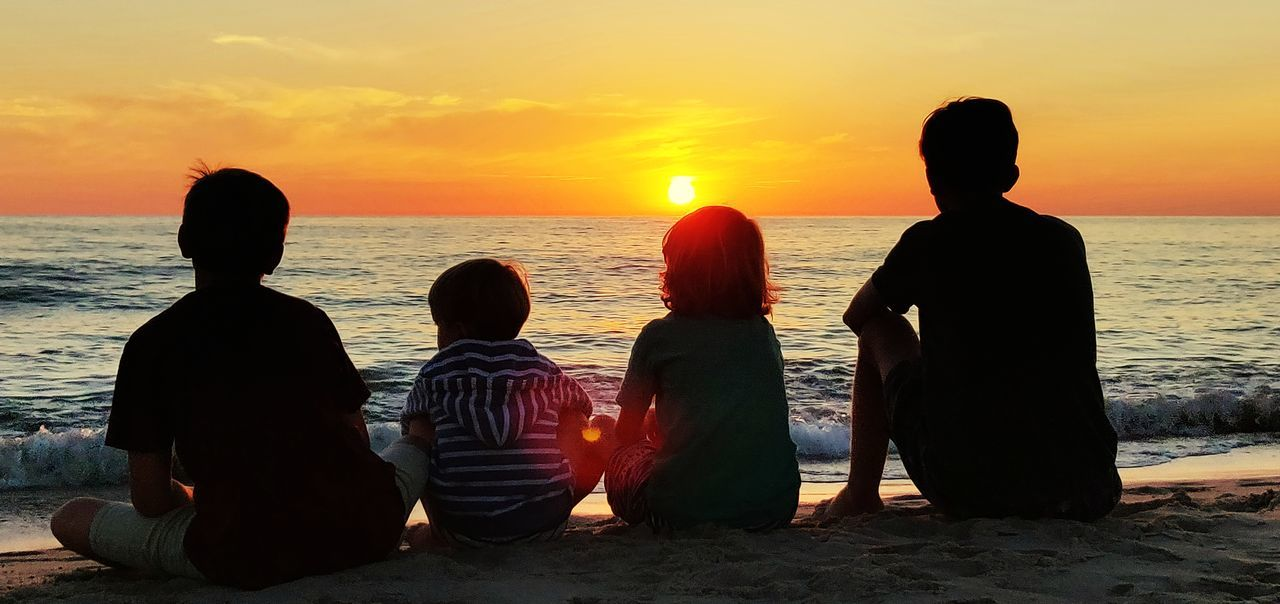 Child Sea Childhood Sunset Males  Togetherness Beach Boys Family Bonds Shore