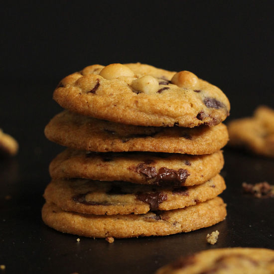Chocolate Chip Cookies Chocolate Chocolate Chip Cookies Dessert Nuts Snack Baked Baking Black Background Chocolate Chip Chocolate Chip Cookie Close-up Cookie Delicious Dessert Food Food And Drink Indulgence Macadamia Milk Ready-to-eat Stack Sweet Food Temptation Yummy