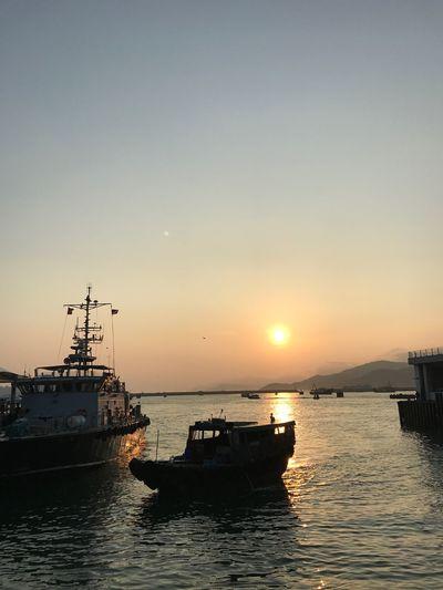 長洲日落 長洲 香港 Sky Nautical Vessel Sunset Water Transportation Sea Mode Of Transportation