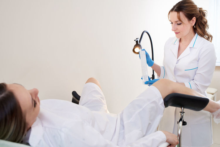 Pregnant woman at gynecologist