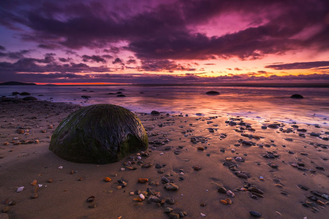 Beach Beauty In Nature Cloud - Sky Colorful Colors Hampden Horizon Over Water Landscape Moeraki Boulders Nature New Zealand No People Outdoors Sand Scenics Sea Sky South Island Sunset Tranquil Scene Tranquility