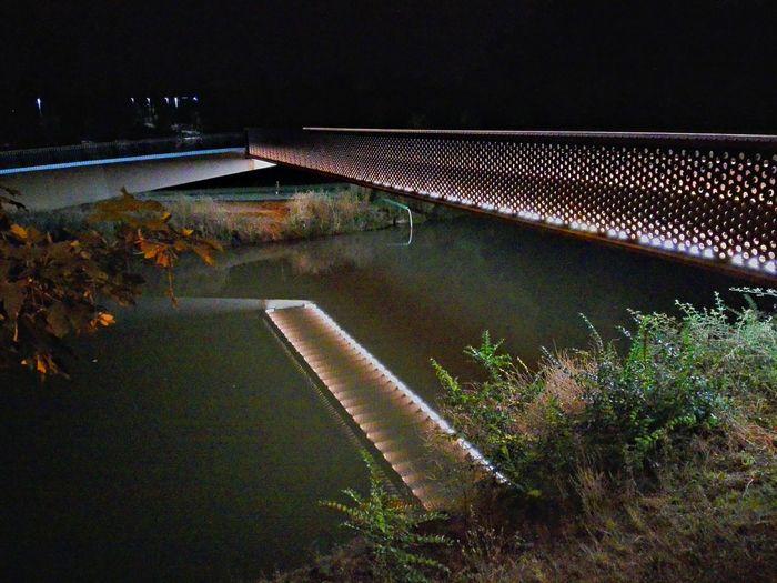 Reflejos en el rio Illuminated Night Lights Color Explosion Pamplona Pamplona, Edificios Públicos, Navarra, Spain, Es