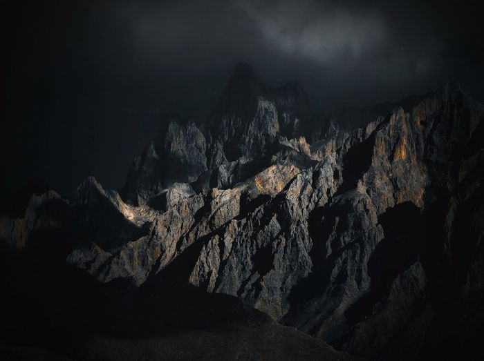 Scenic View Of Mountain Range At Night