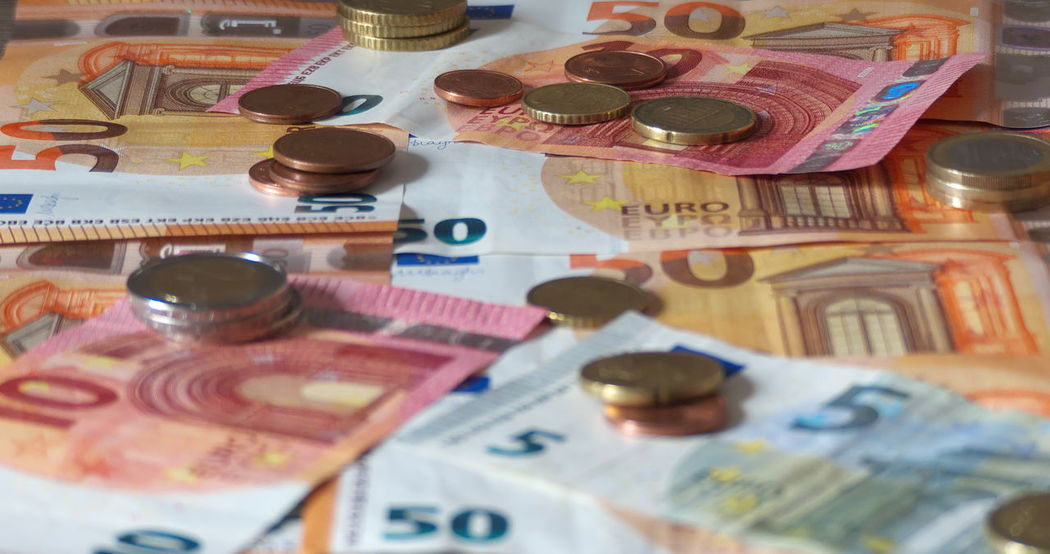 Finance Banknotes Close-up Coin Currency Euros Finance Geldscheine High Angle View Indoors  Money Münzen No People Paper Currency Savings Table Wealth