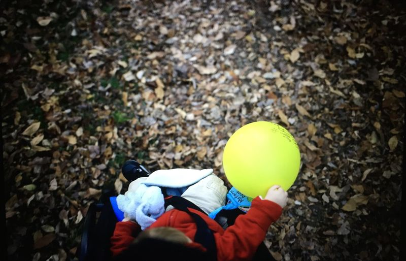 High Angle View Of Baby Sitting In Carriage And Holding Balloon At Field