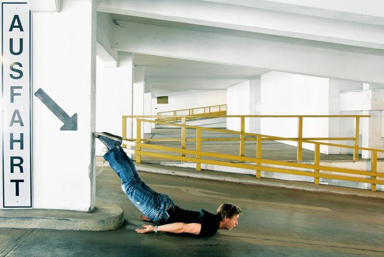 Man Lying Down In Basement