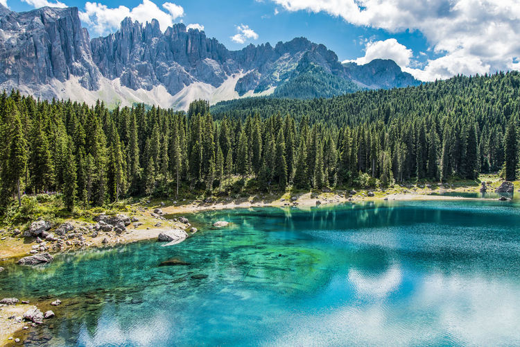 Enchanted panorama. lake of carezza. dolomites, italy