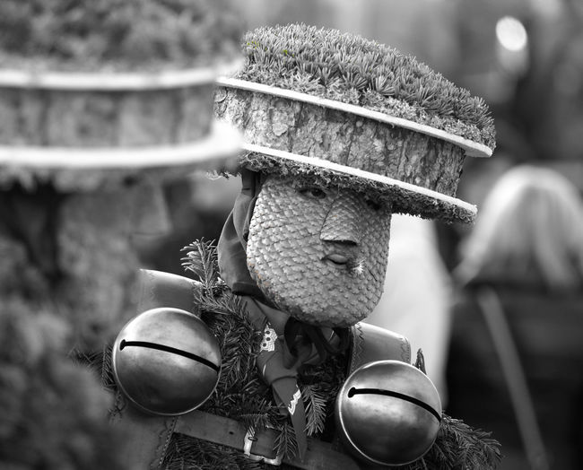 "Black and white portrait of a ""Sylvesterchlaus"" in Teufen/Appenzell AR, Switzerland - Saying ""Goodbye"" to the old year the Appenzeller way! Appenzell Ausserrhoden Appenzellerland Black And White Close-up Culture And Tradition Focus On Foreground Guten Rutsch Happy New Year! Living Traditions Masked Person Masks New Year's Eve New Year's Mummer Old Customs Pagan Customs Saint Sylvester Schö-Wüeschte Silvester SilvesterChlausen Silvesterklaus Switzerland Teufen Tourist Attraction  Tradition Traditional Costume"