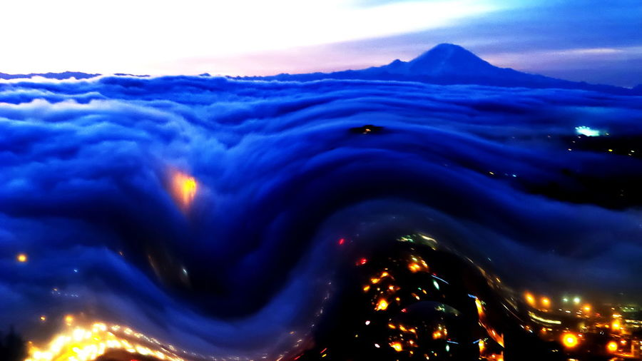 Altered Perceptions Artistic Photo Blue Blue Fog Cityscapes Curves Dark Eye4photography  EyeEm Best Edits Fog Mount Rainier Seattle Showcase: January Sky And Clouds View From Above View From The Window... Weather