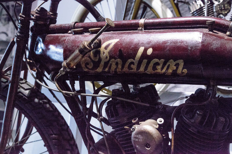 Los Angeles, CA, USA - March 4, 2017: Rusty red 1912 Indian Board Track Racer Motorcycle at the Petersen Automotive Museum in Los Angeles, California, United States. Editorial only. 1912 Board Track Racer Classic Indian Motorcycle Old Petersen Automotive Museum Racer Red Rusty Saint Christopher Saint Christopher Coin St Christopher Vintage