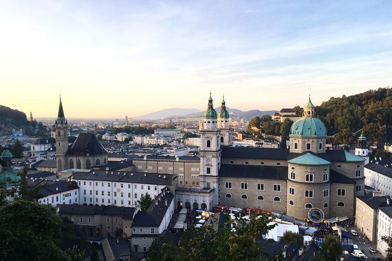 Salzburg 🏰 City EyeEm Selects EyeEm Gallery Eye4photography  EyeEm Nature Lover EyeEmNewHere EyeEm Best Shots Colors Sky Town Tower Sunset Castle Saltzburg Österreich Architecture Religion Building Exterior Place Of Worship Built Structure Dome Sky City Cityscape Day Spirituality