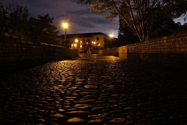 Night Illuminated Street Light Colombia Popayán