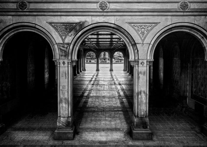 Bethesda Terrace Arcade 1 Arch Architectural Column Architecture Bethesda Terrace Black & White Black And White Blackandwhite Blackandwhite Photography Built Structure Central Park CentralPark Column Corridor Diminishing Perspective Historic Illuminated In A Row New York City No People NYC Photography Repetition The Way Forward Travel Destinations Vanishing Point Walkway