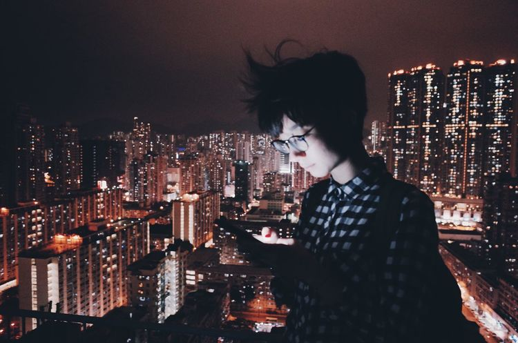 Night Skyscraper City Cityscape Illuminated Building Exterior Architecture Young Adult City Life Built_Structure One Person Urban Skyline Outdoors Young Women Sky Hong Kong Architecture The City Light Urban Landscape Portrait Of A Woman People Phone Photography Communication IPhone Moody Sky Mood Captures Fresh On Market 2017