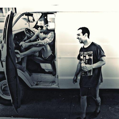 Cano & Johnny. Puerto Rico Black And White Faces Of EyeEm People Punkrock Un Final Fatal Tour Terror Van Puertorico Black & White