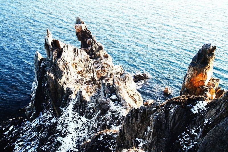 Sea Water Rock - Object High Angle View Bird Nature Perching Day Beauty In Nature Beach Rock Outdoors People Explore Nature Ocean EyeEmNewHere