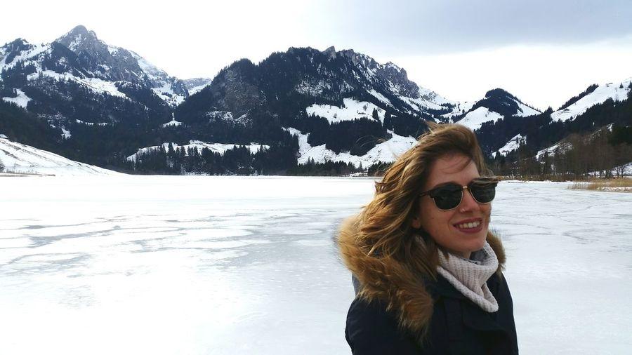 Switzerland Lac Noir Schwarzsee Mountains Lake Winter Snow Ice Windy Portrait