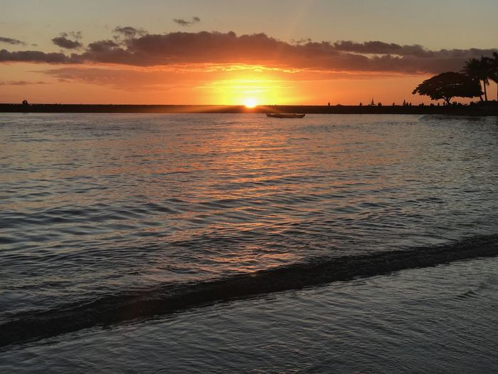 Hawaii Waikiki Copy Space Copyspace No People Orange Color Sunset Clear Sky Dusk Horizon Over Water Sandy Beach Coastline Sunset Silhouettes Calm Water Palm Tree Island Sun Rays Beauty In Nature Tranquil Scene Outdoors Land Ocean View Tropical Tropical Climate Honolulu  Capture Tomorrow