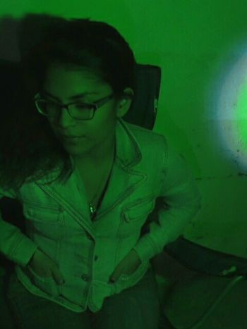 Green Night Green Color Green Light One Young Woman Only Shadows & Lights Chihuahua, Mexico Leo Sáenz Lonely Girl Why So Sad One Person