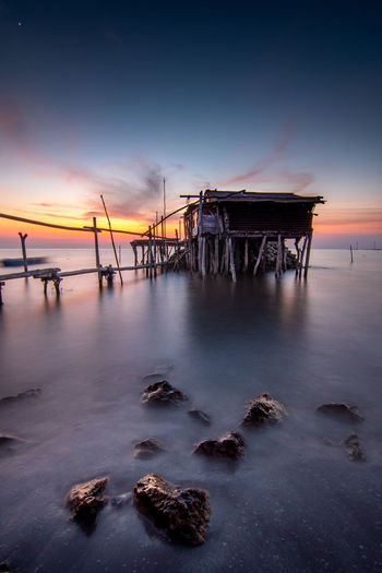Water Sea Sunset Beach Beauty Silhouette Stilt House Reflection Sky Horizon Over Water