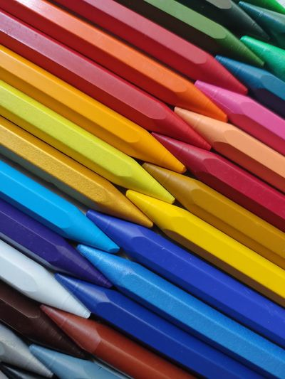 Full frame shot of multi colored pencils or crayons.