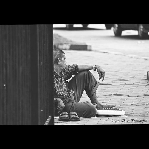 """The real tragedy of the poor is the poverty of their aspirations."" -Adam Smith #helpless #loneliness #lookingforlove #poor #streetwalk HUMANITY Photowalk Streetphotography Utsavdoshi"