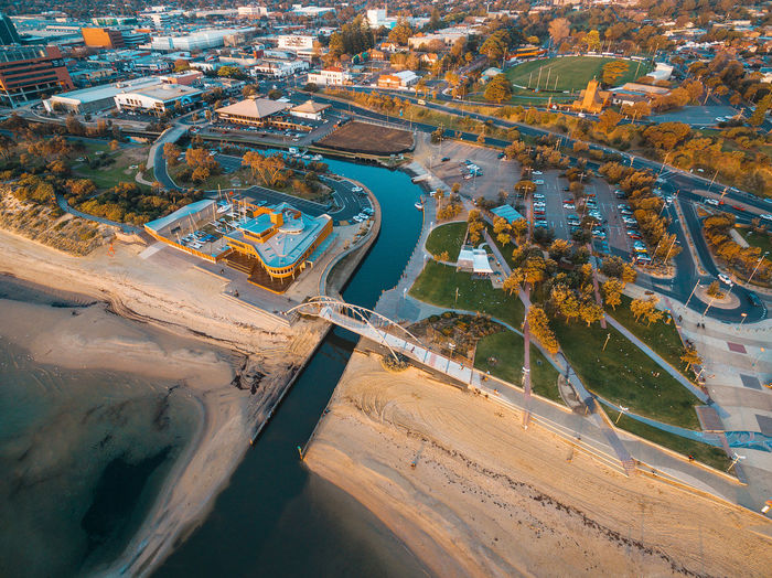 Aerial view of Frankston waterfront at sunset. Melbourne, Australia. Australia Coastline Drone  Footbridge Frankston Aerial Aerial Landscape Aerial Panorama Aerial View Architecture Building Building Exterior Built Structure City Cityscape Day Drone Photography High Angle View Industry Landsdcape Melbourne Nature No People Outdoors Plant Seascape Sunset Transportation Travel Travel Destinations Tree Water Yacht Club