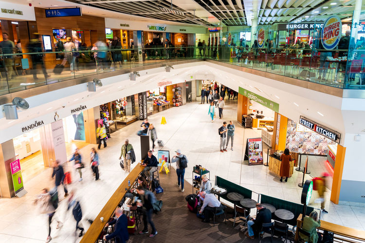 High angle view of people at shopping mall