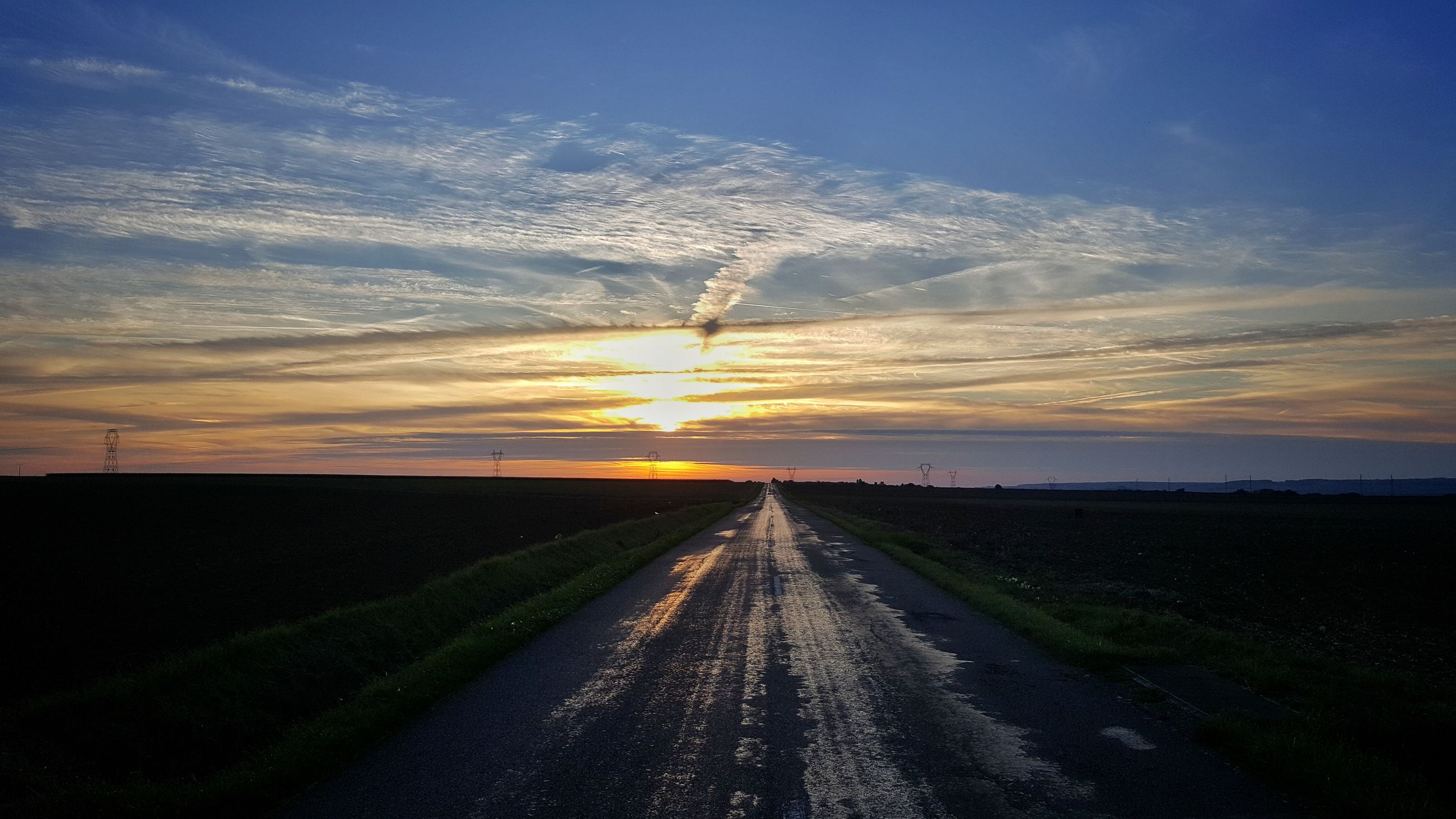 sunset, road, sky, the way forward, no people, scenics, nature, tranquil scene, landscape, outdoors, beauty in nature, day