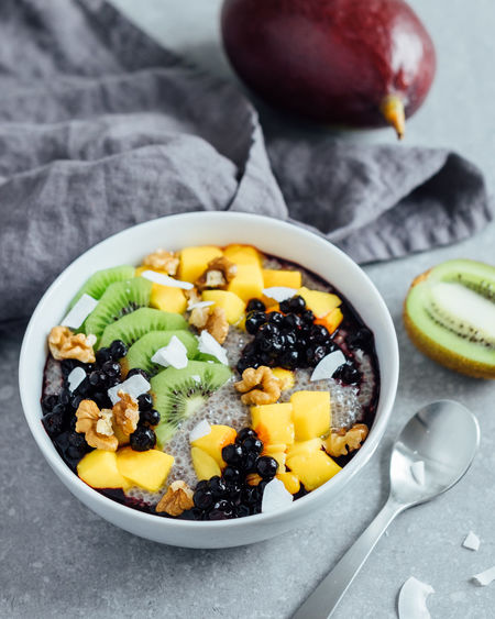 Chia pudding with mango, kiwi, blueberries and walnuts Bowl Bowling Breakfast Food Food And Drink Freshness Fruit Healthy Eating Indulgence Spoon Vegan Vegetarian