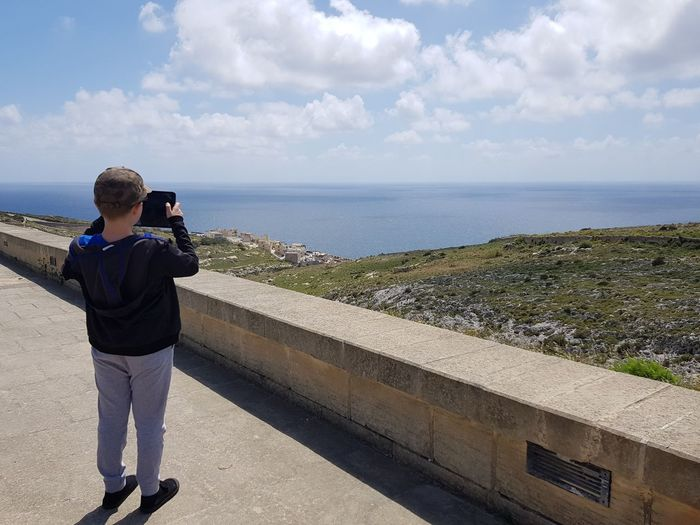 young photographer:) Casual Clothing Technology Tablet Taking Photos Mediterranean  Malta No Filter Holiday Water Photography Themes Child Sea Photographing Standing Learning Boys Males