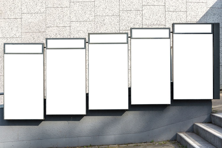 Advertisement Architecture Black Color Blank Built Structure Copy Space Design Exhibition Flat Screen Frame Indoors  Marketing No People Picture Frame Poster Side By Side Technology Wall Wall - Building Feature White Color