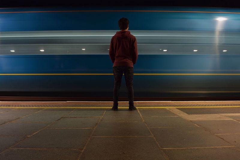 Train Fast Blur Long Exposure Slow Shutter Slow Shutter Speed Rear View Night One Person Standing Public Transportation Grunge