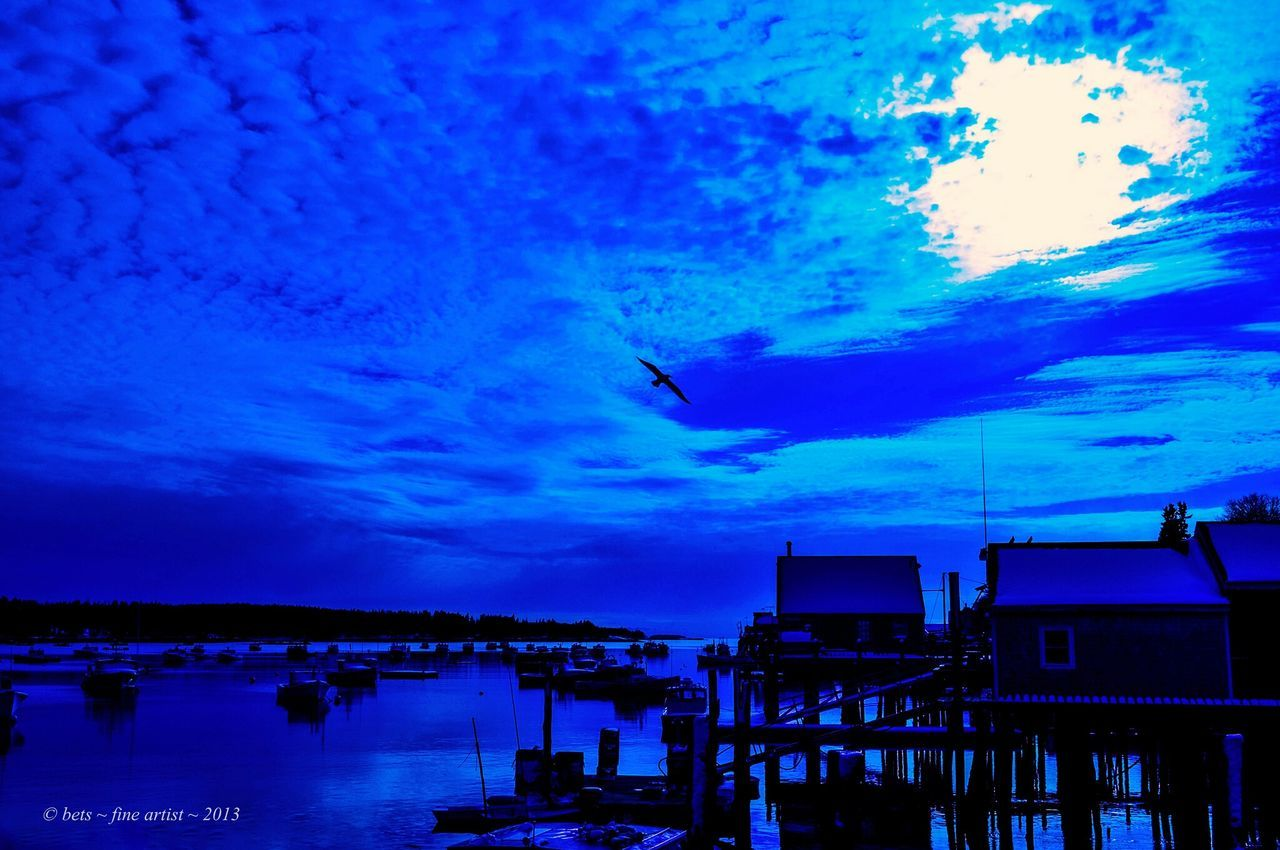 sky, cloud - sky, built structure, building exterior, water, architecture, transportation, flying, animal themes, outdoors, nautical vessel, mode of transport, bird, animals in the wild, nature, silhouette, one animal, sunset, blue, sea, beauty in nature, no people, harbor, scenics, day