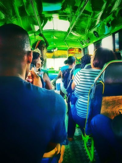 People Together People Photography People Around You People Watching Hanging Out Enjoying Life Check This Out Fine Art Photography Vehicle Interior Reggae Bus Light And Shadow Mode Of Transport Inside Traveling Comuting Barbados 2016
