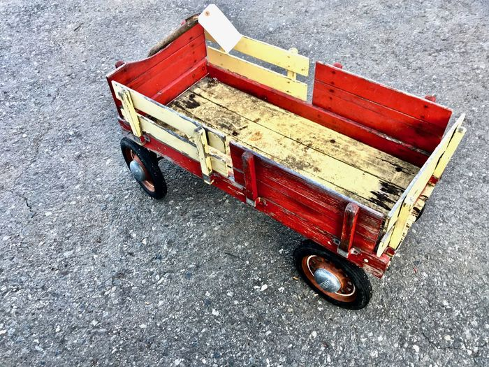 Cart Day No People Outdoors Radio Flyer Red Red Road Street Toy Toy Car Transportation Vintage Toy Vintage Toys