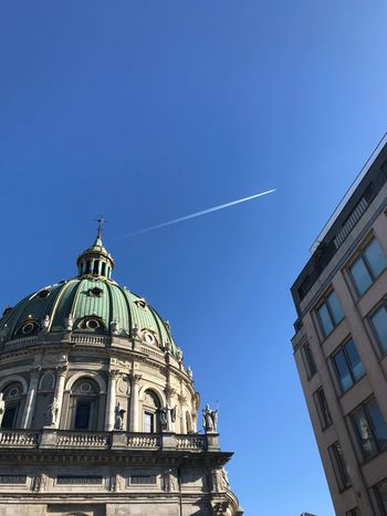 ShotOnIphone Chemtrails Dome Architecture Built Structure Low Angle View Building Exterior History Day Religion Outdoors Vapor Trail Blue Place Of Worship Travel Destinations No People Clear Sky Sky