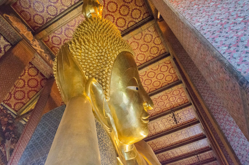 Bangkok Buddha Architecture Art And Craft Belief Buddhism Buddhist Temple Building Built Structure Ceiling Craft Creativity Gold Colored Human Representation Idol Low Angle View Male Likeness No People Ornate Place Of Worship Religion Representation Sculpture Spirituality Statue