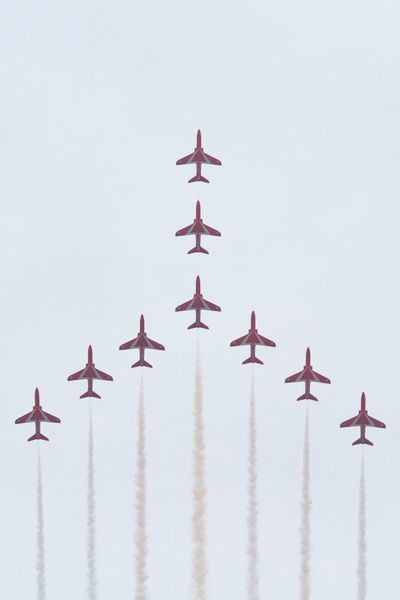 Air Force Airplane Close To Cultures Day Flying Formation Flying Formation Flying Large Group Of Objects No People Outdoors Red Arrows RIAT 2016 Royal Air Force Sky Travel EyeEmNewHere