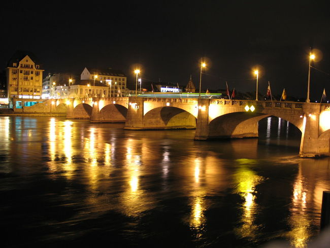Architecture Basel Basel, Switzerland Basilea Bridge City Life Night City Night River River
