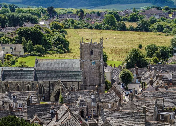 High angle view of historic building at corfe castle