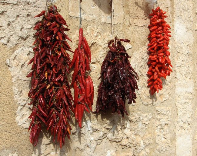 Market Street Wall Mallorca Drying Hanging Red Close-up Red Chili Pepper Chili