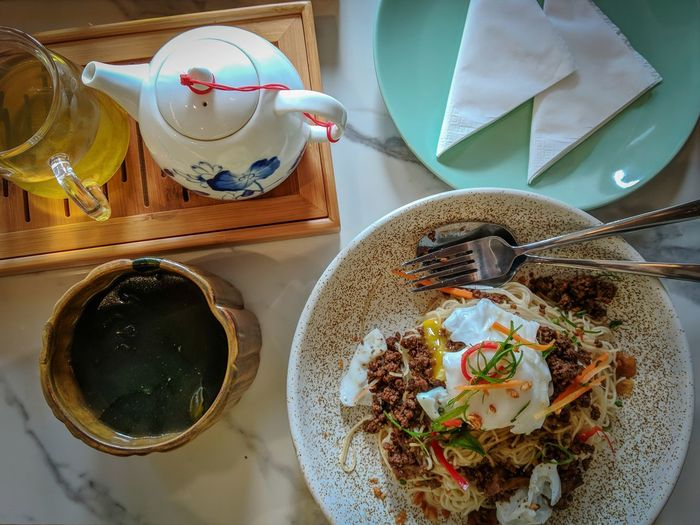 asian breakfast dry noodle Ideas Clay Egg Pork Recipe Plate Directly Above Table High Angle View Close-up Food And Drink Tea Cup Chinese Tea Teapot Green Tea Tea Ceremony Japanese Tea Cup