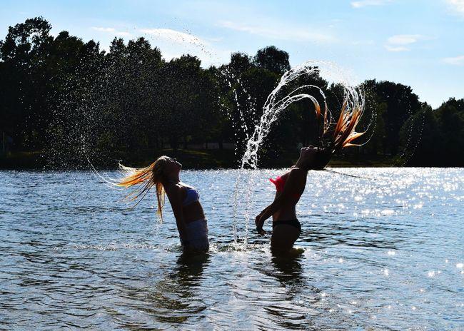Summertime Waterdrops Heart Friendship Girls Wethair  Lake View Summer ☀ EyeEm Best Shots