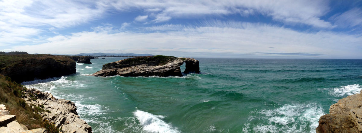 Panoramic view of the beach of the Cathedrals (As Catedrais) in Ribadeo, Galicia - Spain Arch As Catedrais Beach Cathedrals  Cliff Galicia Idyllic Landmark Landscape Lugo Nature Ocean Outdoors Panoramic Picturesque Playa De Las Catedrales Ribadeo Rock Scenics Sea Sightseeing SPAIN Stone Travel Water