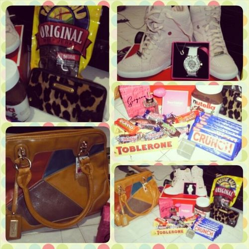 .THANK YOU FOR THE GIFTS (*_*) Beefjerky CoachwedgeshoesEST .1941 Juicycouturewallettigerprint Juicycouturewatchtimepieces Gorgeousperfume Victoriasecret Kimbelbag Nutella Chocolates Feelingblessed Happykid Iloveyouall